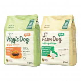 Green Petfood VeggieDog Origin 900g + FarmDog Active 900g gratis
