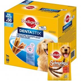 Pedigree Dentastix für große Hunde 56 Stück + 10 Pedigree Schmackos gratis