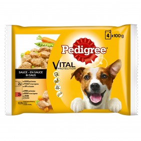 Pedigree Hundefutter Huhn und Lamm in Gelee 4x100g