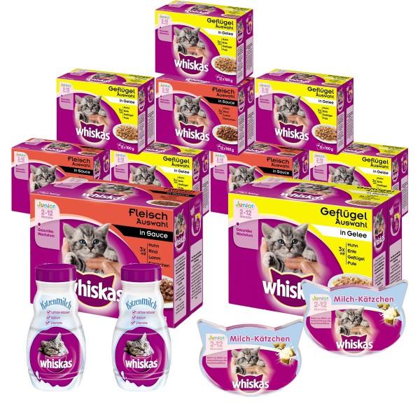 Whiskas Junior Bundle 120x100g Fleisch- und Geflügelauswahl + 2x Milch-Kätzchen + 400ml Katzenmilch