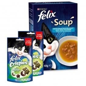 FELIX Soup Kabeljau, Thunfisch, Scholle 48x48g + Felix Crispies 2er Pack gratis