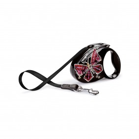 flexi Luxury Roll-Leine GLAM Butterfly schwarz