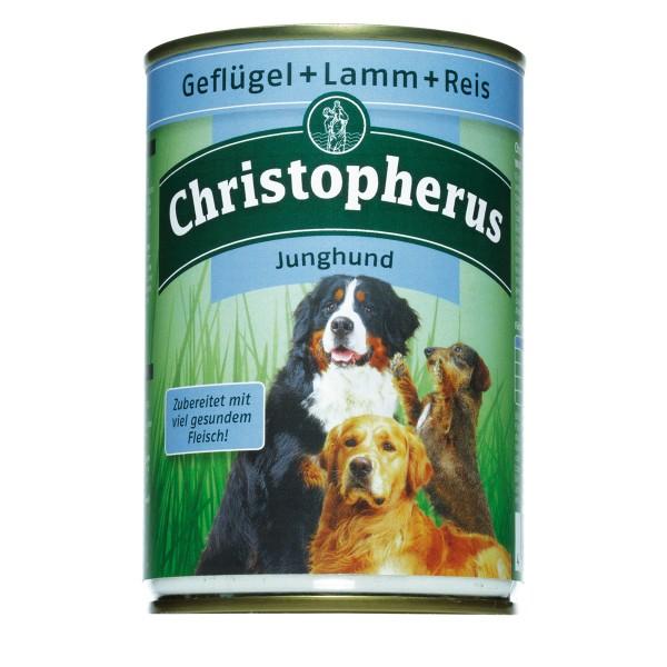 Christopherus Fleischmahlzeiten Junghund Geflügel + Lamm + Reis 6x400g