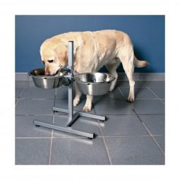 Support de gamelle pour chien avec 2 bols en acier inoxydable
