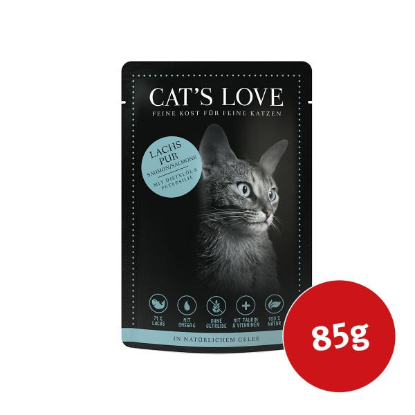 Cats Love Nassfutter Lachs Pur mit Distelöl & Petersilie - 85g