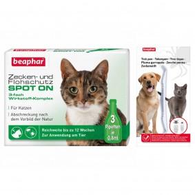 beaphar Zecken- & Flohschutz SPOT-ON für Katzen + Zeckenstift gratis