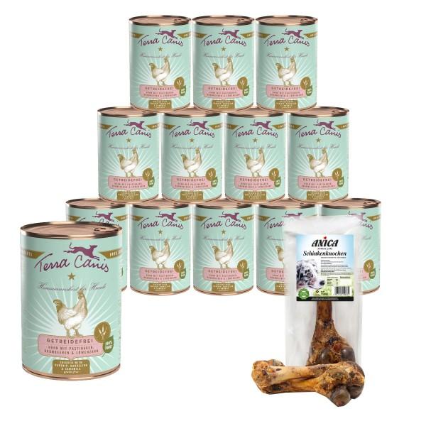 Terra Canis getreidefreies Hundefutter mit Huhn &Pastinaken + GRATIS Schinkenknochen