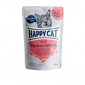 Happy Cat Pouches – Meat in Sauce Adult kuřecí maso a losos