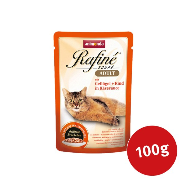 Animonda Katzenfutter Rafiné Soupé Adult mit Geflügel & Rind in Käsesauce