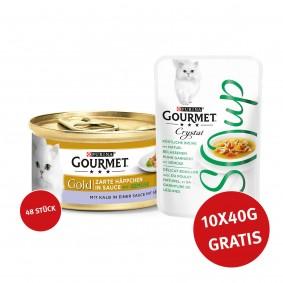 Gourmet Gold Zarte Häppchen Kalb & Gemüse 48x85g + Crystal Soup mit Huhn und Gemüse 10x40g GRATIS!
