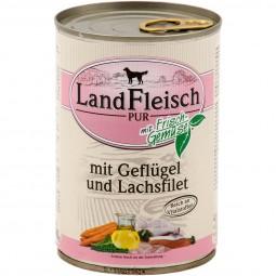 Landfleisch Nassfutter Dog Pur Geflügel & Lachsfilet
