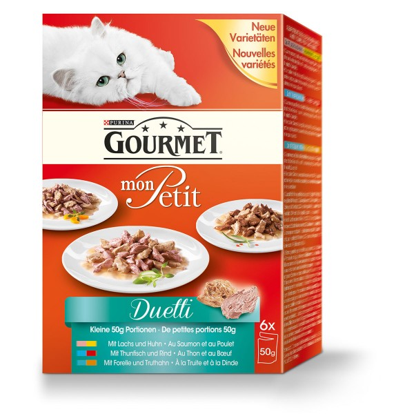 Gourmet Katzenfutter Mon Petit Duetti Fleisch und Fisch Multipack 6x50g