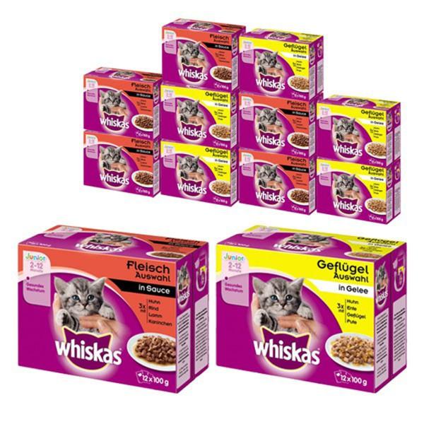 Whiskas Junior Katzenfutter 144x100g Fleisch- und Geflügelauswahl Nassfutter