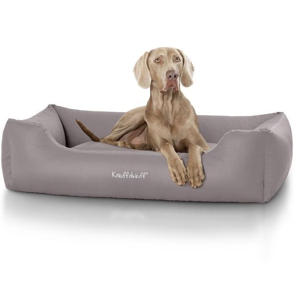 Knuffelwuff Leder Hundebett Sidney grau XL