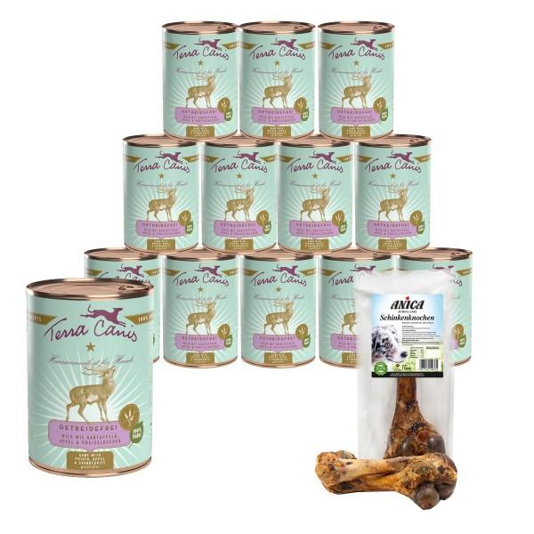 Terra Canis getreidefreies Hundefutter mit Wild & Kartoffeln 12x400g + GRATIS Schinkenknochen