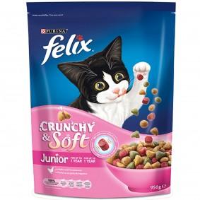 FELIX Crunchy & Soft Junior mit Huhn und Gemüsezugabe 950g