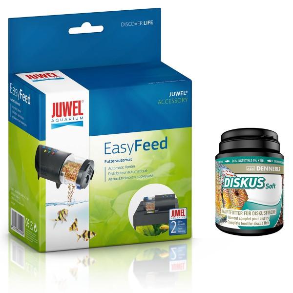 Juwel EasyFeed + Dennerle Fischfutter Diskus Soft 1000ml