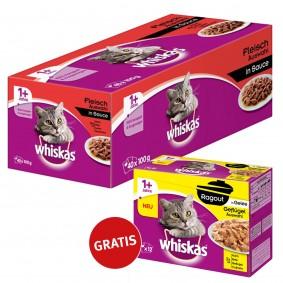 Whiskas 1+ Fleischauswahl in Sauce 40x100g + Adult 1+ Ragout Geflügelauswahl in Gelee 12x85g GRATIS