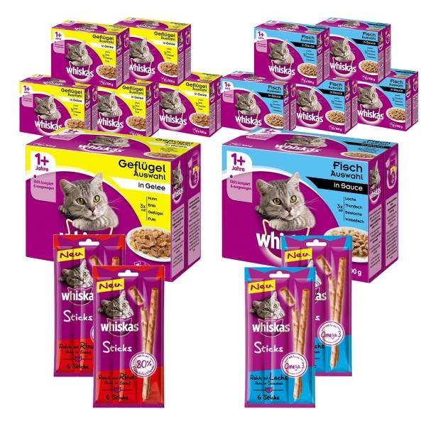 Whiskas 1+ Bundle 144x100g Katzenfutter Geflügel- und Fischauswahl + 4x Sticks Lachs und Rind