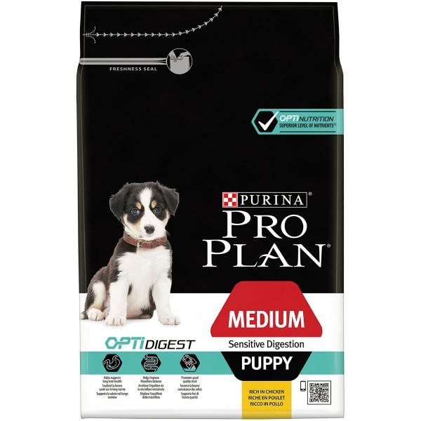 Pro Plan Medium Puppy für sensible Verdauung mit Optidigest reich an Huhn 3kg