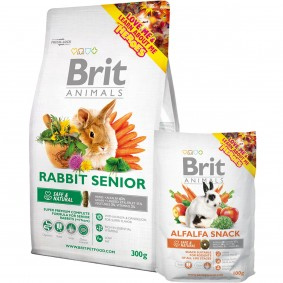 Probierpaket Brit Animals Rabbit Senior Complete 300g + Alfalfa Snack 100g