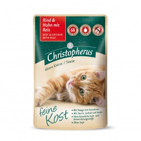 Christopherus Katze Senior Rind und Huhn mit Reis 12x85g