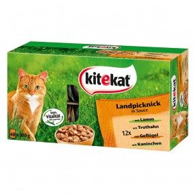 Kitekat Katzenfutter Landpicknick in Sauce Multipack 48x100g