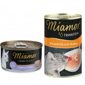 Miamor Feine Filets in Jelly Thunfisch und Calamari 24x100g + Trinkfein 135ml GRATIS!