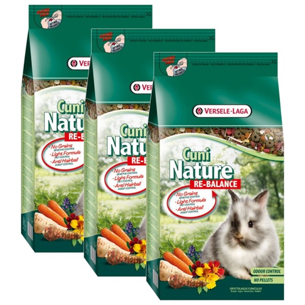 Versele Laga Nagerfutter Premium Cuni Nature Re-Balance 3x10kg
