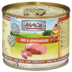 MAC's Cat Katzenfutter Fleischmenü Rind & Hühnerherzen