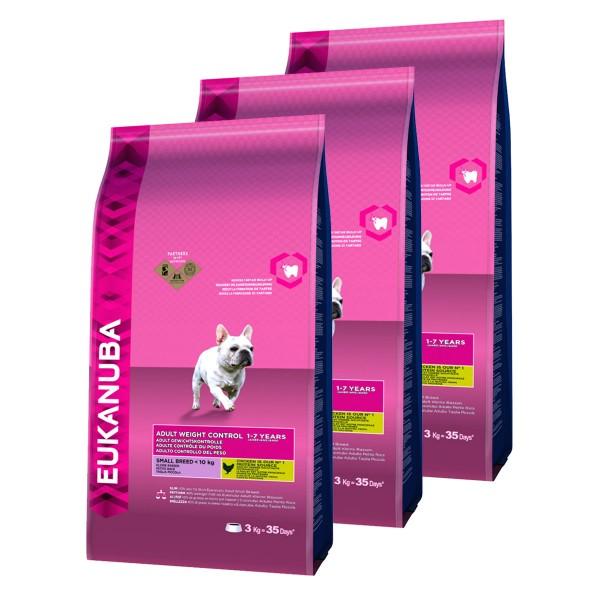 Eukanuba Hundefutter Erwachsen Gewichtskontrolle Kleine Rassen Huhn 3x3kg