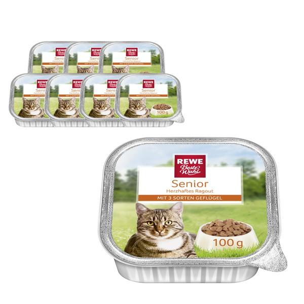 REWE Beste Wahl Katzenfutter Senior Ragout mit Geflügel
