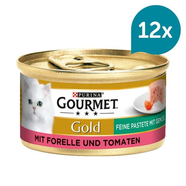 GOURMET Gold Feine Pastete Katzennassfutter mit Forelle & Tomaten