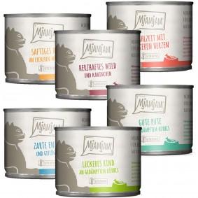 MjAMjAM Mixpaket III Wild&Kaninchen, Pute, Ente&Geflügel, Herzen, Huhn, Rind 6x200g
