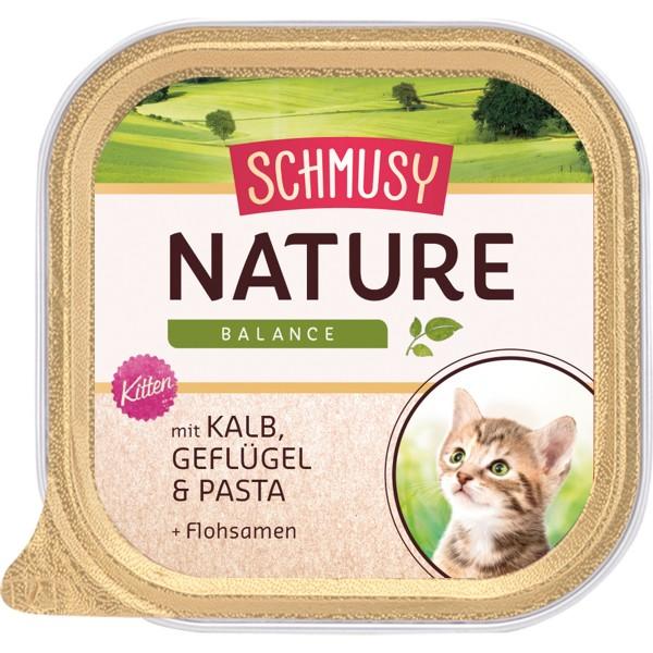Schmusy Nature Kitten - Kalb, Geflügel, Pasta & Flohsamen 16x100g