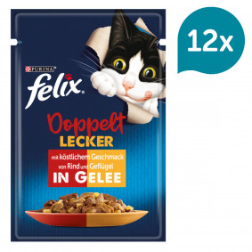 FELIX So gut wie es aussieht Doppelt Lecker in Gelee mit Rind und Geflügel 12x85g