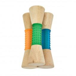 Earthy Pawz Holz Hundespielzeug Kegel mit Gummi