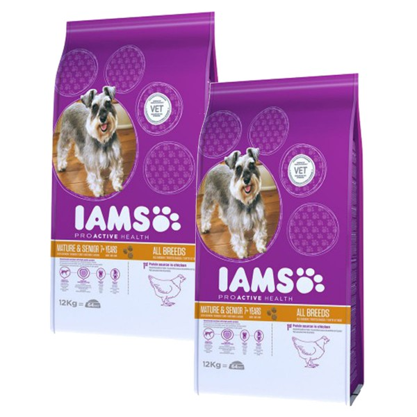 IAMS Hund Mature & Senior Huhn 2x12,0kg