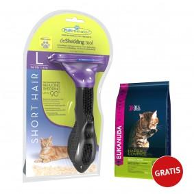 FURminator deShedding Tool Kurzhaar L + Eukanuba Katze Anti Hairball 400g GRATIS