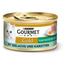 GOURMET Gold Feine Pastete Katzennassfutter mit Seelachs & Karotten