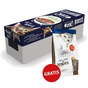 Happy Cat Duo Mischkarton 12x100g  + Happy Cat Sensitive Grainfree Rentier 300g GRATIS
