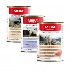 Mixpaket Meradog pure sensitive Nassfutter MEAT Geflügelherzen, Lamm, Rind 12x400g