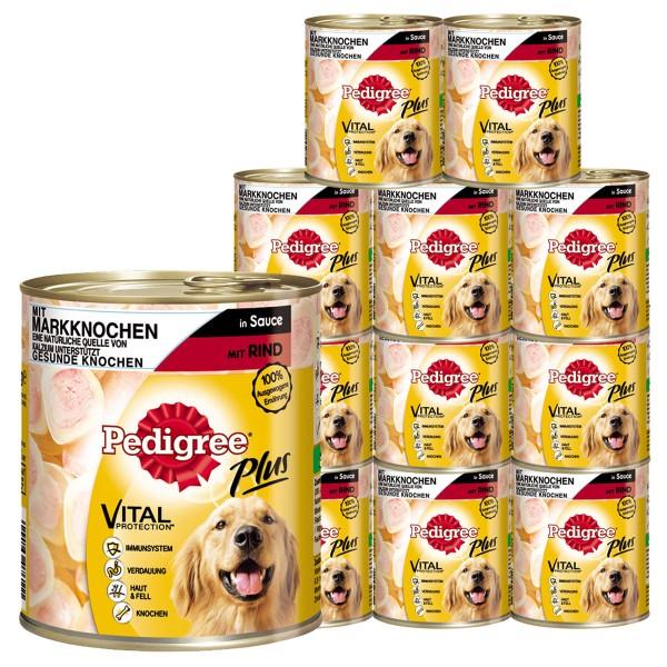Pedigree Plus Hundefutter mit Markknochen und Rind in Sauce