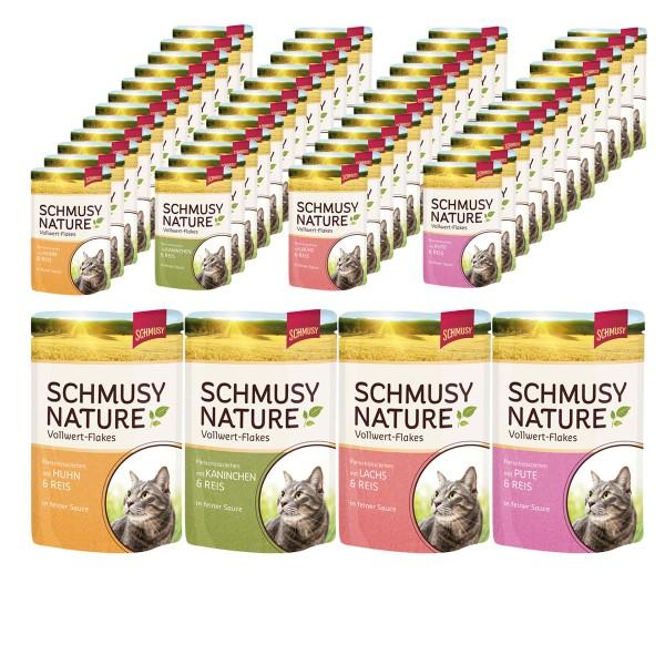 Schmusy Nature Vollwert Flakes im Pouchbeutel 48x100g in 4 verschiedenen Sorten