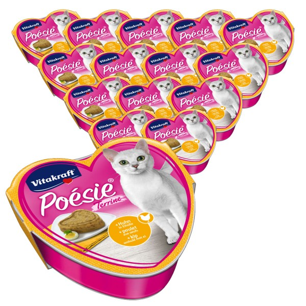 Vitakraft Katzenfutter Poésie Terrine mit Huhn und Eihülle 15x85g