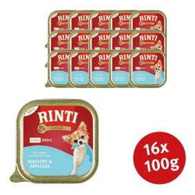 Finnern Rinti Hunde-Nassfutter Gold Mini Wachtel & Geflügel - 16x100g Sale Angebote Schipkau Annahütte, Herrnnmühle