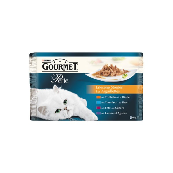 Gourmet Nassfutter Perle Erlesene Streifen 4er Multipack