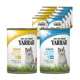Yarrah Katzenfutter Bio Mix-Set Huhn und Fisch 48x400g