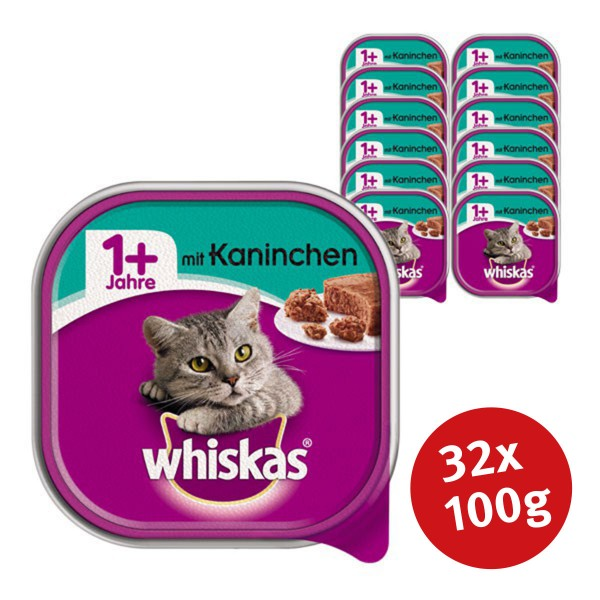 Whiskas Katzenfutter 1+ mit Kaninchen 32 x 100g