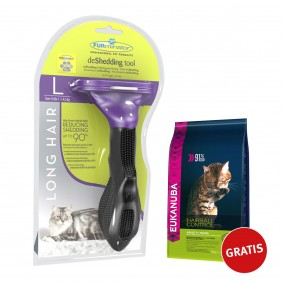 FURminator deShedding Tool Langhaar L + Eukanuba Katze Anti Hairball 400g GRATIS